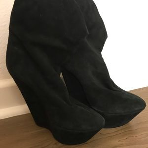 Giuseppe black suede slouchy boots